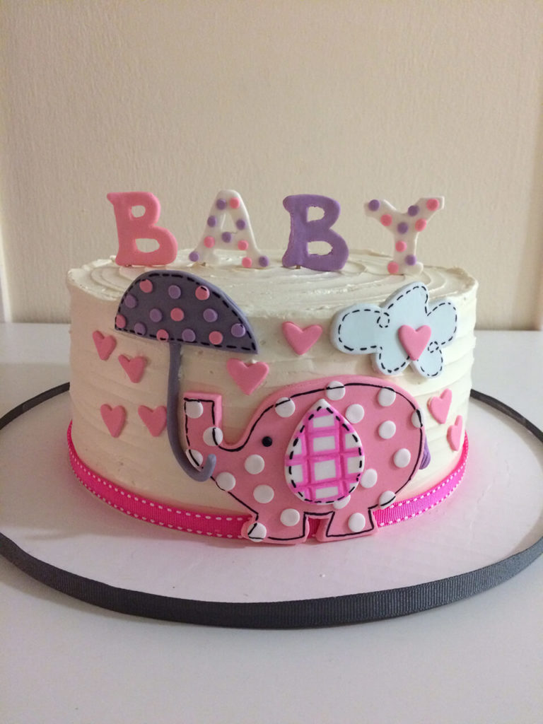 Elephant Baby Shower Cake by Tripl3 Baked