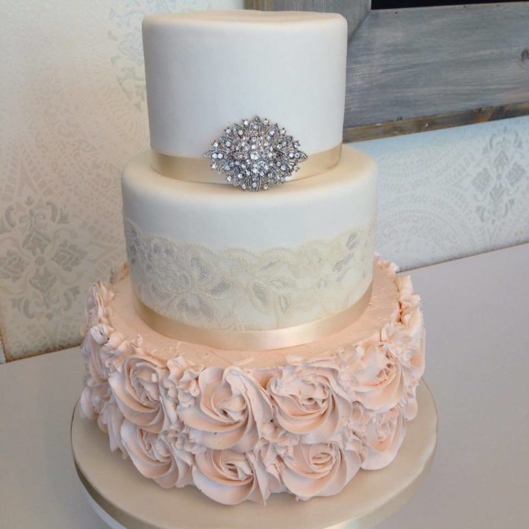 Wedding Lace Rosette Cake by Tripl3 Baked